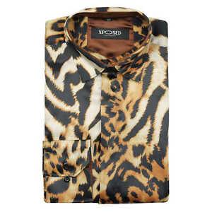 Mens Gold Leopard Rosettes Animal Print Satin Silk Feel Retro Party Shirt