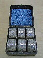 LOVELY BOXED SET OF SIX ANTIQUE AESTHETIC MOVEMENT SILVER PLATED NAPKIN RINGS