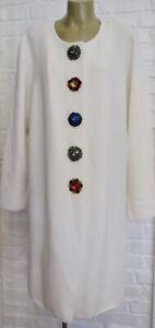 ESCADA NWOT Off White Coat Jeweled Snap Buttons Designer coat XL Flash Sale