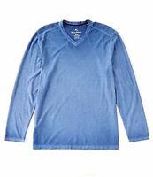 Men's Sz 2XLB Tommy Bahama Cirrus Coast V Neck Long Sleeve Shirt Dockside Blue