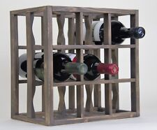 Victoria Wine Rack 9 bottles Solid Wood Smoked Color Countertop