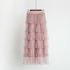 New Girls Tiered Skirt Layered Pleated Swing Lolita Tutu Tulle Flexible Skirt