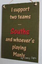 Souths South Sydney Rabbitohs versus Manly Wooden Footy Sign