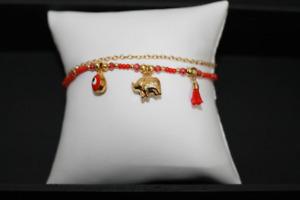 gold elephant charm bracelet 17A
