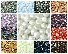 CHOOSE COLOR! 25pcs 6mm 2-hole Cabochon Bead Czech Pressed Glass