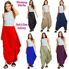 Womens Draped Harem Baggy Ali Baba Lagenlook Pants Ladies Hareem Stretch Trouser
