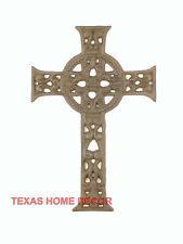 "Ornate Celtic Wall Cross Cast Iron Metal Floral Scrolls Rustic Decor 11x7"""