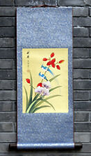 Chinese silk wall scroll painting birds flowers