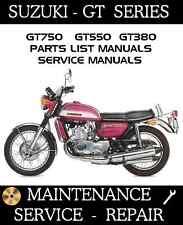 Suzuki GT380 GT550 GT750 GT 380 550 750 Motorcycle Service Repair Parts Manual