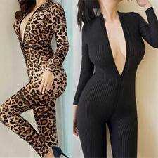 Women Deep V Long Sleeve Leopard Bodysuit Zip Jumpsuit Striped Catsuit Clubwear