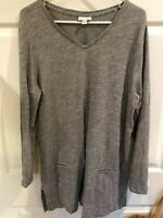 J.Jill Shirt Long Sleeve Tunic V Neck 100% Cotton Gray Women's Sz L