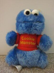 "Vintage Hasbro Softies Sesame Street COOKIE MONSTER 8"" Plush - Eyes Rattle"