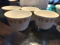 """4 Vintage Pyrex Corning Corelle Gold Butterfly Coffee Cups - Small """"C"""" Handle"""