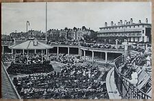 Old street scene Postcard  -  Band Pavilion. Clacton-On-Sea. Essex.