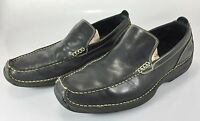 Cole Haan Mens 11.5M Black Leather Loafers Contrast Stitching Shoes Slip-On
