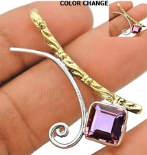 Two Tone 3CT Natural Alexandrite 925 Sterling Silver Pendant