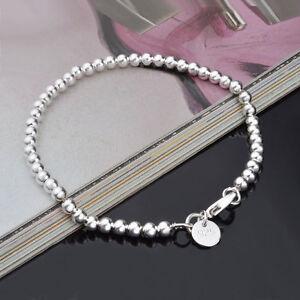 CUTE 925 lady Silver Fashion 4mm Bead FOR women Chain Bracelet jewelry