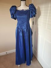 New listing Union Made Vintage 80s Blue Puff Sleeve and Lace Bridesmaid/Prom Dress 36 Waist