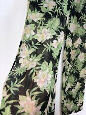 Vintage Reformation Sheer Tropical Print Trousers Pants Palazzo Flare Floral