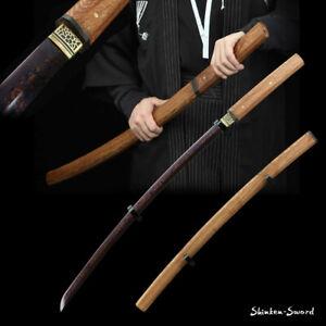 Purple DAMASCUS Folded Steel Shirasaya Sword Japanese Samurai Katana sharp Blade