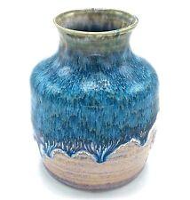 Studio Pottery Art Vase Sky Blue Beige Drip Glaze Pot Signed 4.5 inch Tall