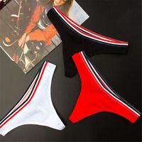 Women Sexy Cotton Sport Stripe Briefs Thong Underwear Lingerie Knickers G-String