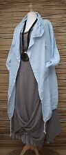 LAGENLOOK LINEN BEAUTIFUL WATERFALL 2 POCKETS JACKET**LIGHT BLUE**BUST UP TO 50""