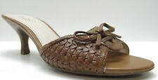 Franco Sarto Brown Leather Kitten Heel Sandals Mules Pumps 8M 8 MSRP $89