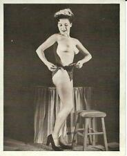 ORIGINAL VINTAGE PIN-UP SEMI-NUDE PHOTO ~ SHAPELY BRUNETTE MODEL IN HEELS