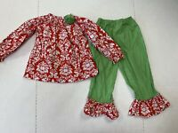 le' Za Me girls size 3 Long sleeve red and green ruffle 2 pc. outfit Christmas