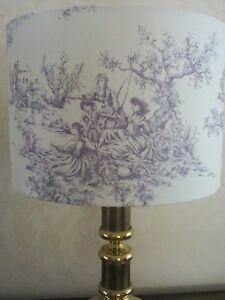 Handmade 40cm Drum Lampshade in Mauve & White Cotton Weave Toile de Jouy Fabric