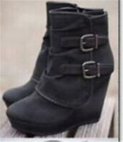 Womens Faxu Suede High Wedge Heel Ankle Boots Platform Buckle Booties Shoes Size