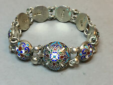 RARE ANTIQUE RUSSIA EMPIRE STERLING 84 SILVER BRACELET WITH ENAMEL