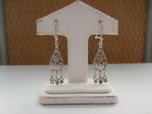 Small Vintage Filigree Flower Chandelier Earrings Sterling silver