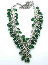 "Green Peridot Silver Overlay Handmade Gemstone Cluster Necklace 18"" Adjustable"
