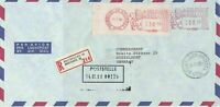 Belgium 1980 B.P.8 Regd Airmail Meter Mail Stamp Cover to Commerzbank Ref 29990