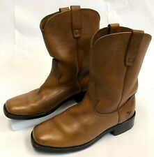 Mens GEORGIA Light Brown Leather Comfort Core Soft Square Toe Work Boots Size 8