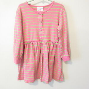 Hanna Andersson Pink Lime Green Striped Cotton Dress Girls Size 110 cm 5 US EUC