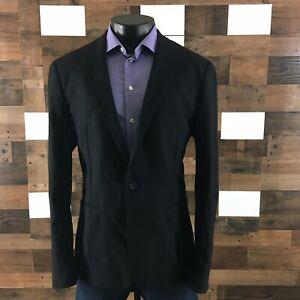 AllSaints Niko Blazer Mens Black Flannel Sport Coat Wool Blend Stretch XXL-44R