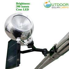 Round aluminum head solar flagpole light W/Cree LED, 390 lumen, 4000 mAh battery
