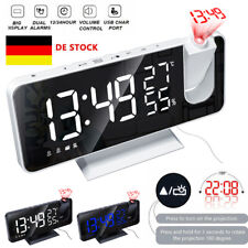 LED Digital Wecker Projektionswecker Temperatur Alarm USB Projektor Funkuhr DE