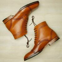 New Men Handmade Leather Cap Toe & Brogue Ankle High lace Up Boots
