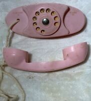 Vintage Handi-craft pink Plastic Rotary Dial Play Phone Toy baby doll Accessory