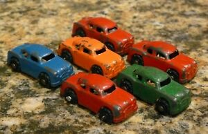 "Barclay Miniature Metal 6 Cars 1 1/2"" Long"