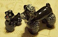 SET OF TWO VINTAGE 1950'S HAND PAINTED RED WARE CERAMIC BLACK POODLE FIGURINES
