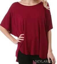Plus Size? Enti Glamour Loose Fitting Red Plum Color Blouse Top NWOT Style CT189