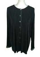 Chico's Travelers Size 3 XL Black Green Abalone Button Down Cardigan Slinky Knit