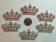 6 Pcs Lot Rhinestone Flatback Crystal Tiara Hair Bow Supplies.