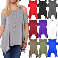 White Ladies Cold Cut Shoulder Hanky Hem Top Swing Oversized Tunic Flared 12-14