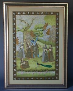 """36"""" Vintage Mughal Indian Painting Pigment Silk Traditional God with Women"""